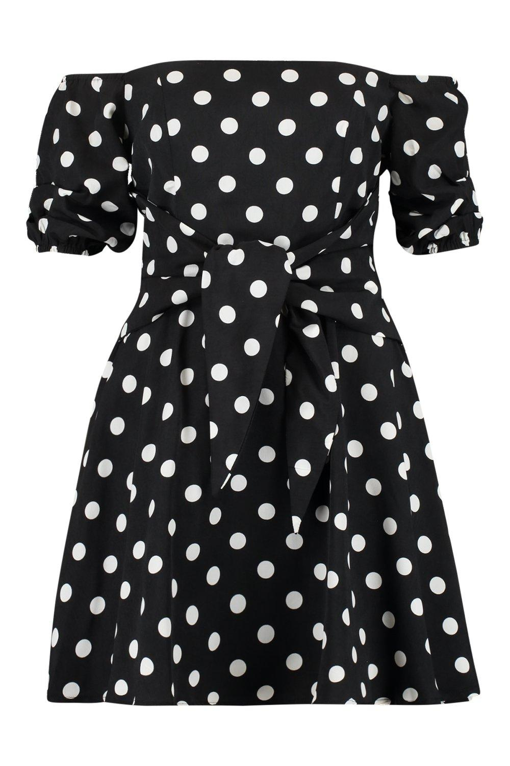 Dress Skater Dot Polka Sleeve Blouson HgwFPO
