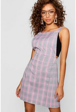 Womens Pink Pastel Checked Pinafore Dress