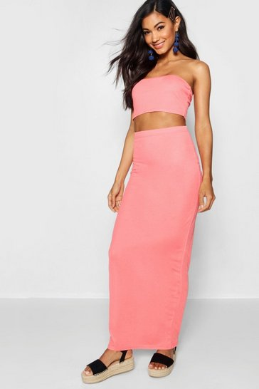 Womens Coral Basic Jersey Maxi Skirt
