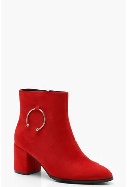 Womens Red Wide Fit Ring Detail Shoe Boots