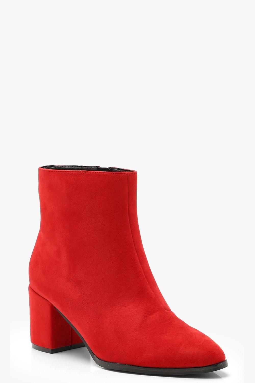 bottes à talons carrés rouge boohoo