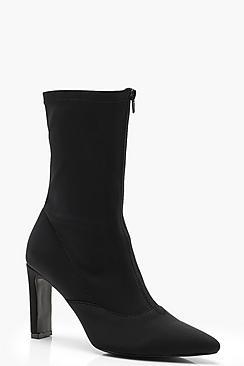 Wide Front Zip Front Flat Heel Sock Boots