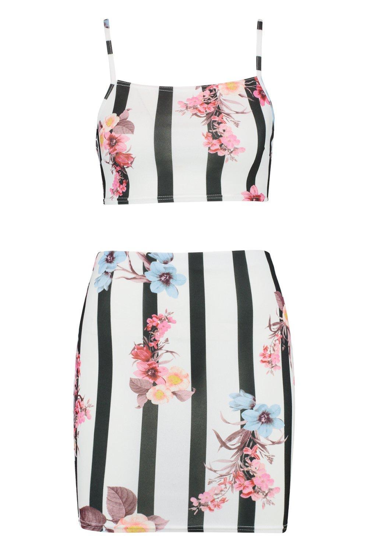 de negro de encaje con Conjunto floral minifalda y sujetador estampado a rayas EqaPTgA