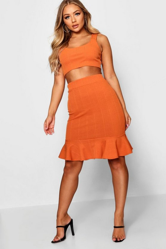 Bandage Square Neck Top & Frill Skirt Co-ord