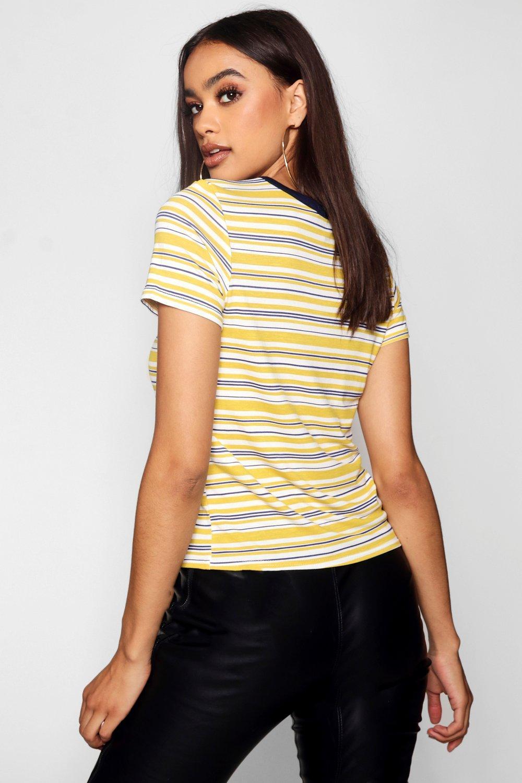 con ribete mostaza a Camiseta rayas 8nqxBqF