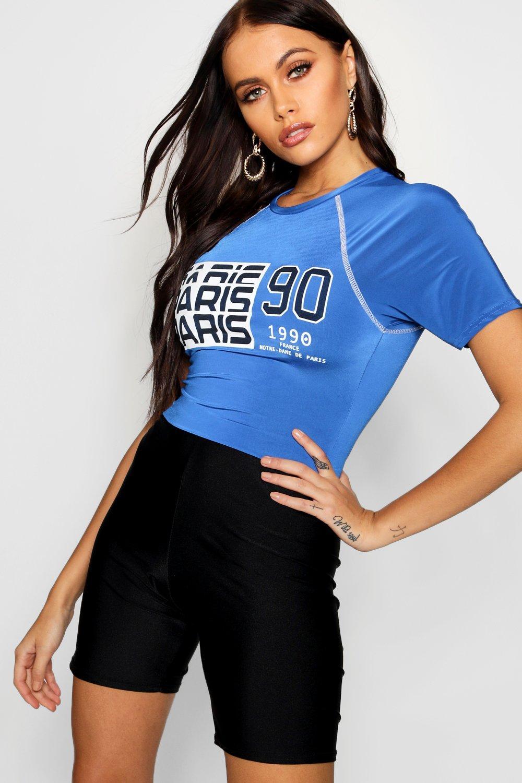 Top con elegante azul corto eslogan PPrFpgq