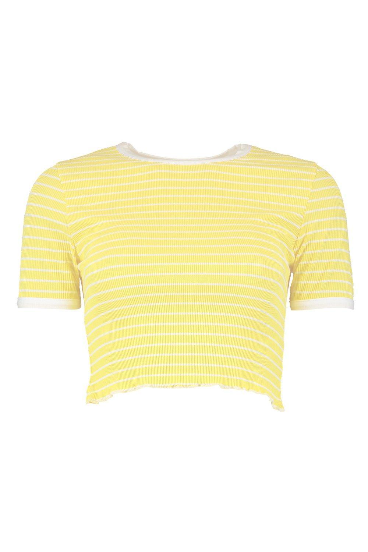 ondulado corta rayas a con amarillo en bajo Camiseta jacquard HAfnZwqw