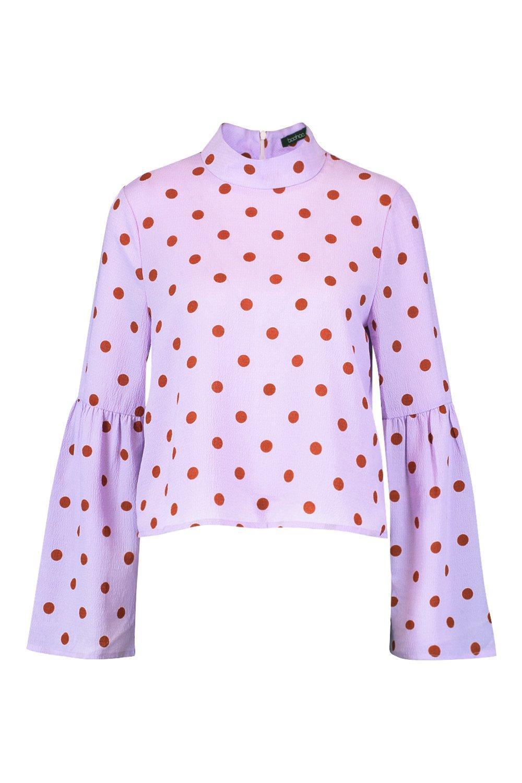 lila alto lunares de con Blusa cuello 8RqUPR