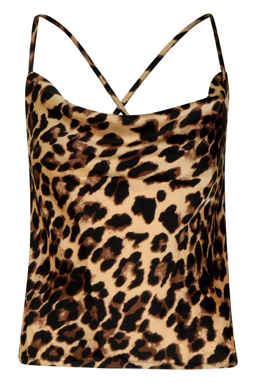 Camisola leopardo cuello satén con estampado en marrón desbocado de y rqwrxCP8