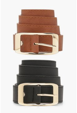 Womens Black Two Pack PU Boyfriend Belts