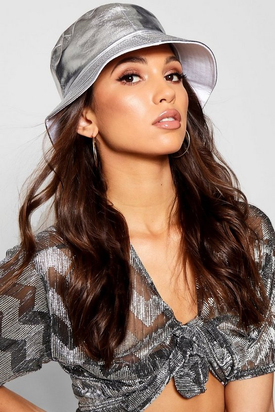 Silver Metallic Bucket Hat