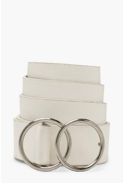 White Double Ring PU Belt