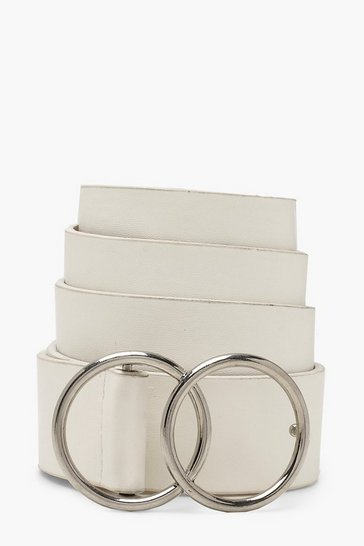 Womens White Double Ring PU Belt