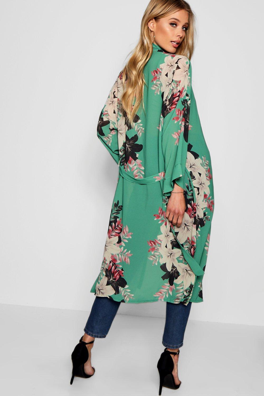 con cinturón floral Kimono verde maxi q1EvWv