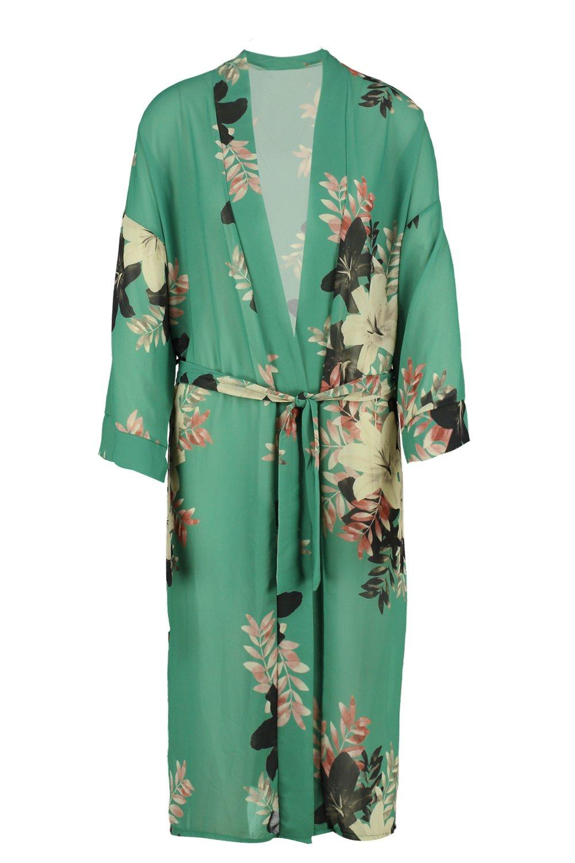 verde maxi Kimono cinturón floral con Unqvf