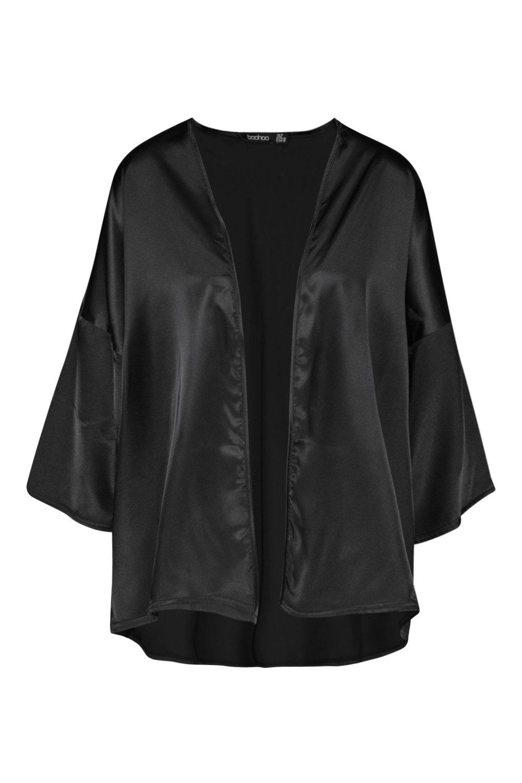 satén manga con Kimono de corta negro 58qnZv