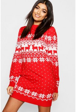 Womens Red Fairisle Festive Knitted Dress