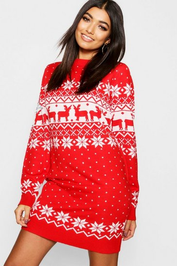 Red Fairisle Christmas Jumper Dress