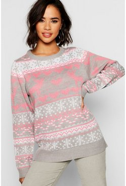 Pink Fairisle Festive Christmas Sweater