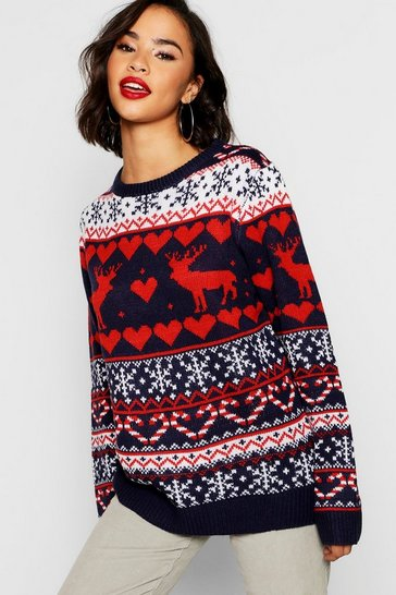 Womens Red Fairisle Festive Christmas Jumper