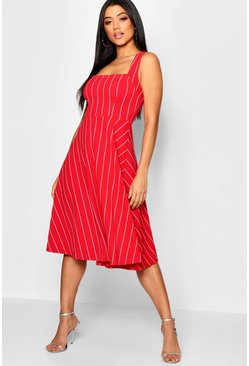 Womens Red Striped Sqaure Neck Skater Dress