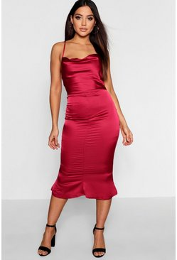 Berry Satin Cowl Neck Lace Up Fish Tail Midi Dress