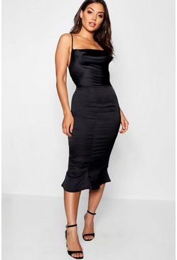 Womens Black Satin Cowl Neck Lace Up Fish Tail Midi Dress