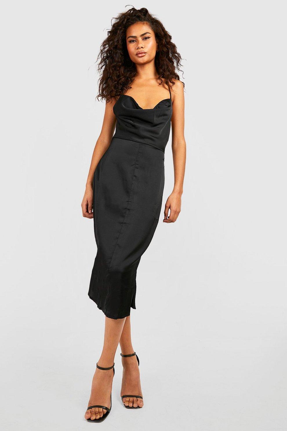 ea23a79ef885 Womens Black Satin Cowl Neck Lace Up Fish Tail Midi Dress