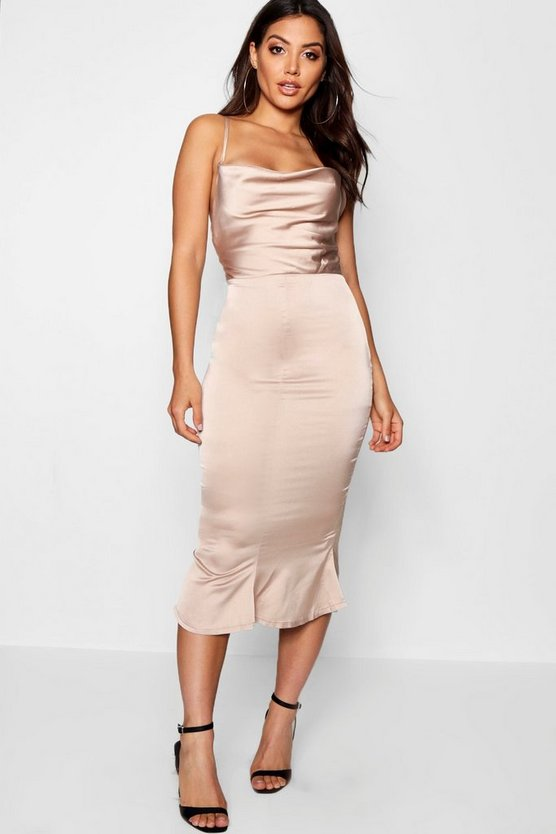 Womens Champagne Satin Cowl Neck Lace Up Fish Tail Midi Dress