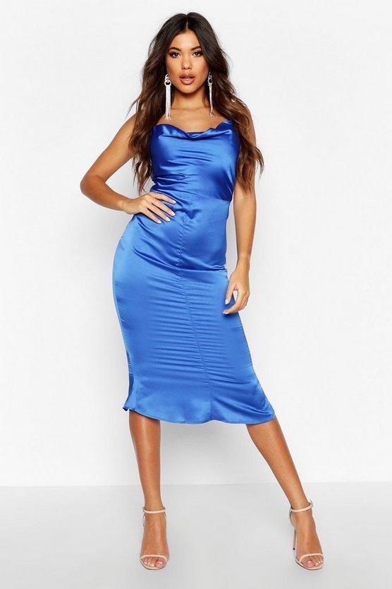Satin Cowl Neck Lace Up Fish Tail Midi Dress