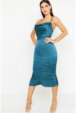 Womens Emerald Satin Cowl Neck Lace Up Fish Tail Midi Dress
