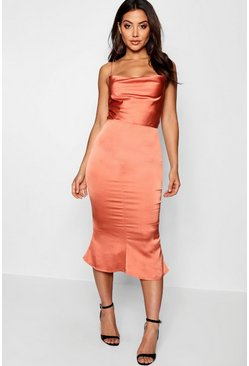 Orange Satin Cowl Neck Lace Up Fish Tail Midi Dress