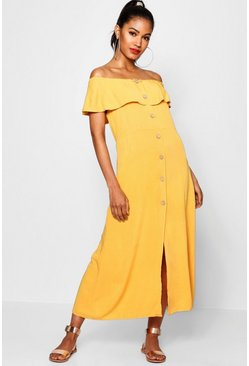 Mustard Off The Shoulder Button Front Dress