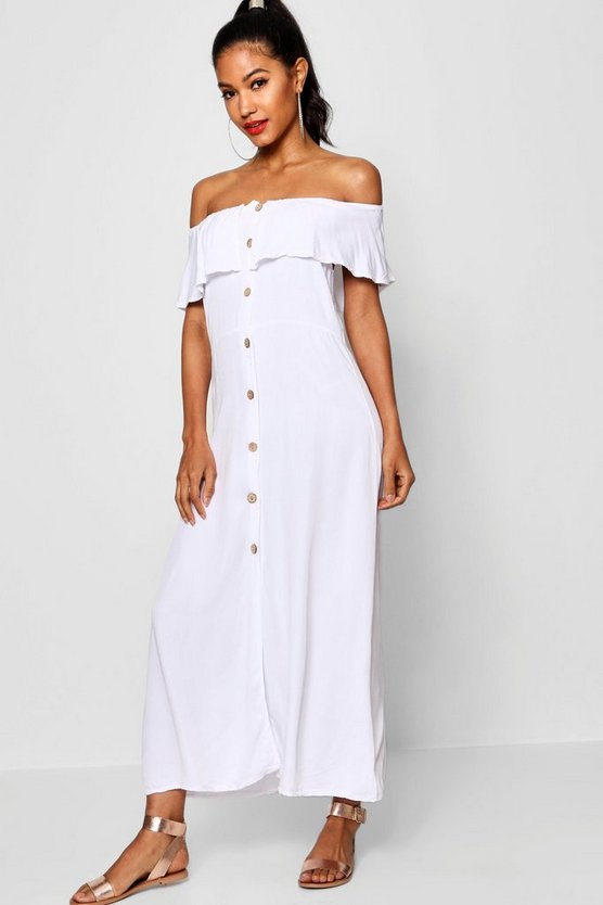 Off The Shoulder Button Front Dress