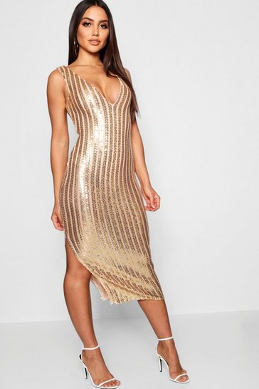 Womens Gold Sequin Stripe Midi Dress with Bodysuit