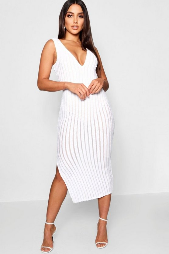 Womens White Sequin Stripe Midi Dress with Bodysuit