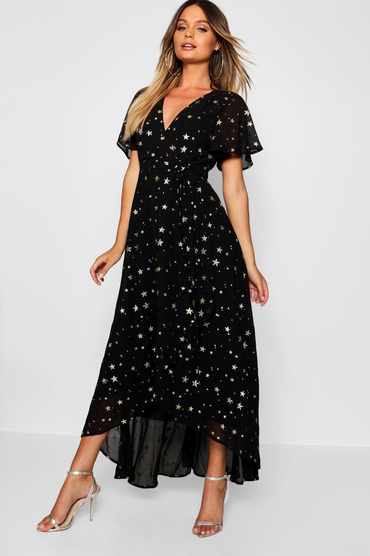 bcc2ab98069f40 Metallic Star Print Wrap Maxi Dress | Boohoo