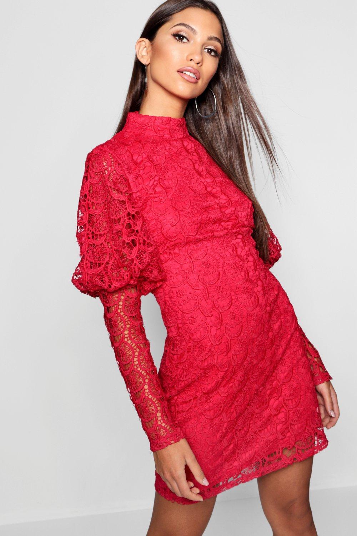 Lace High Neck Puff Sleeve Bodycon Dress | boohoo