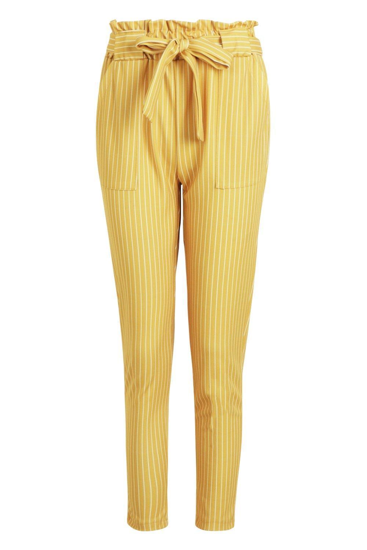 fruncida y Pantalones con cinturón a rayas cintura mostaza wqwa1Cz