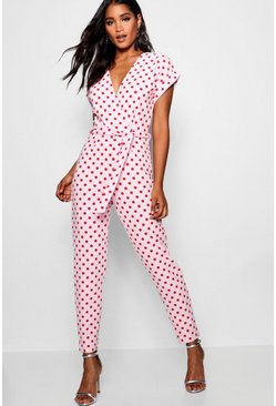 Womens Pink Wrap Tie Spot Detail Jumpsuit
