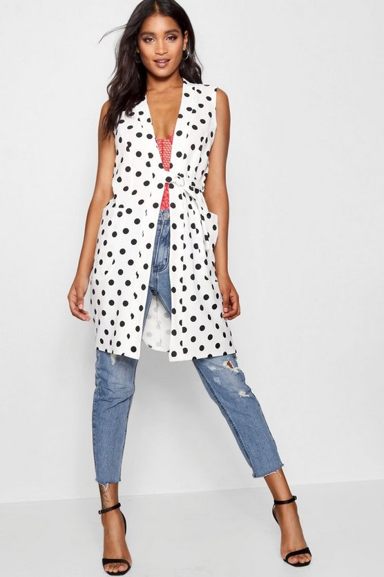 Spot Tie Detail Pocket Longline Duster Spot Tie Detail Pocket Longline Duster by Boohoo
