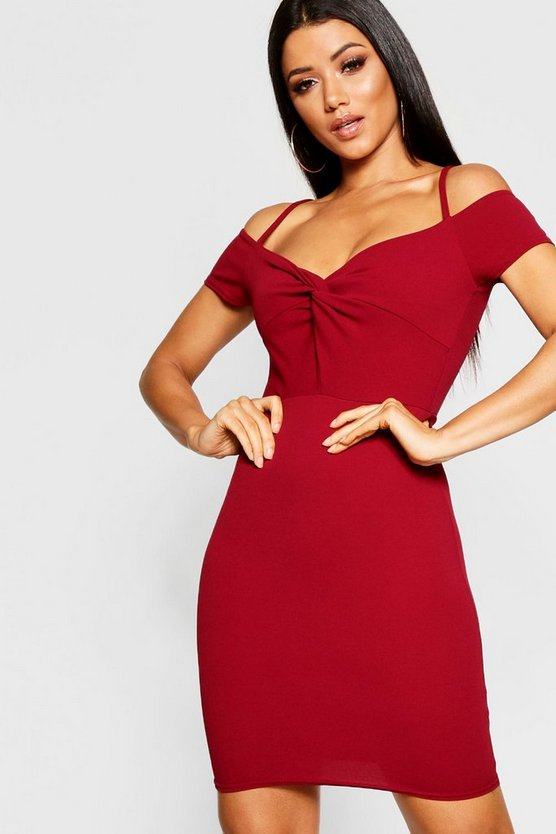 Womens Berry Knot Front Off The Shoulder Dress