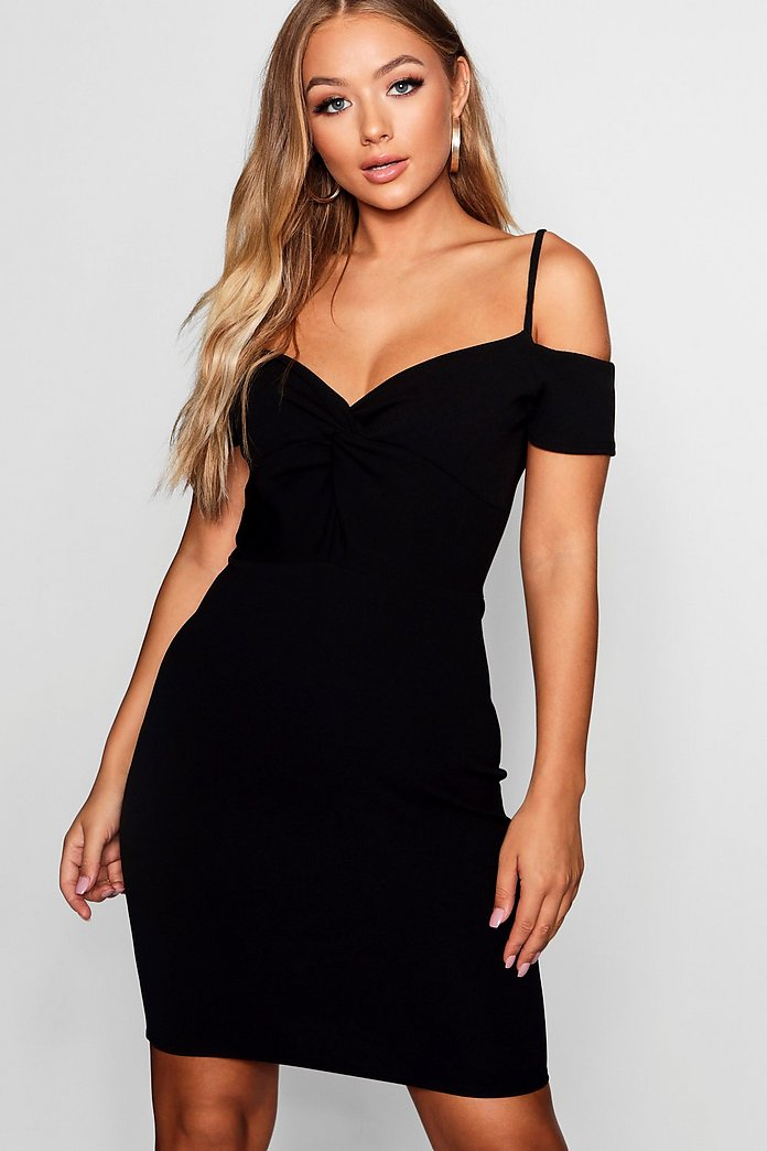 Knot Front Off The Shoulder Dress | Boohoo