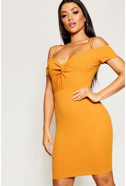 Womens Mustard Knot Front Off The Shoulder Dress