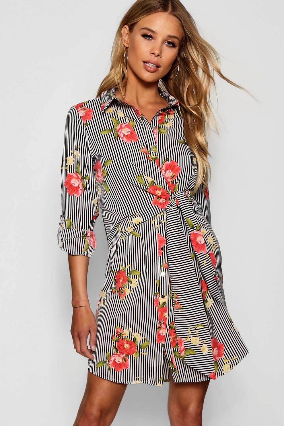 9b0f8e2470d0 Floral Stripe Tie Front Shirt Dress   Boohoo