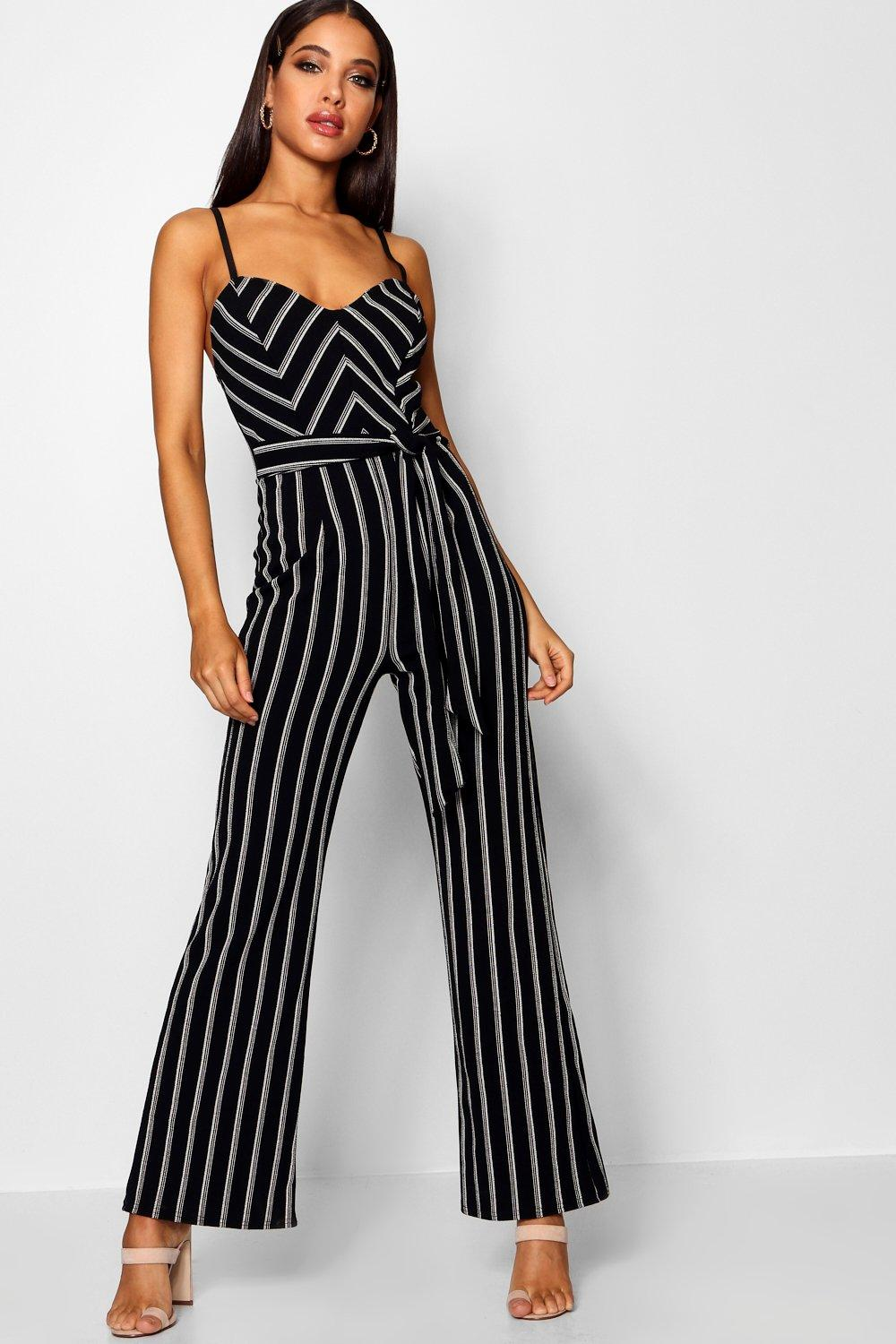 Striped Wide Leg Belted Jumpsuit | boohoo
