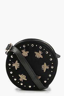 Bug Embroidered Velvet Round Cross Body