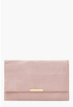 Womens Nude Suedette & Bar Clutch Bag