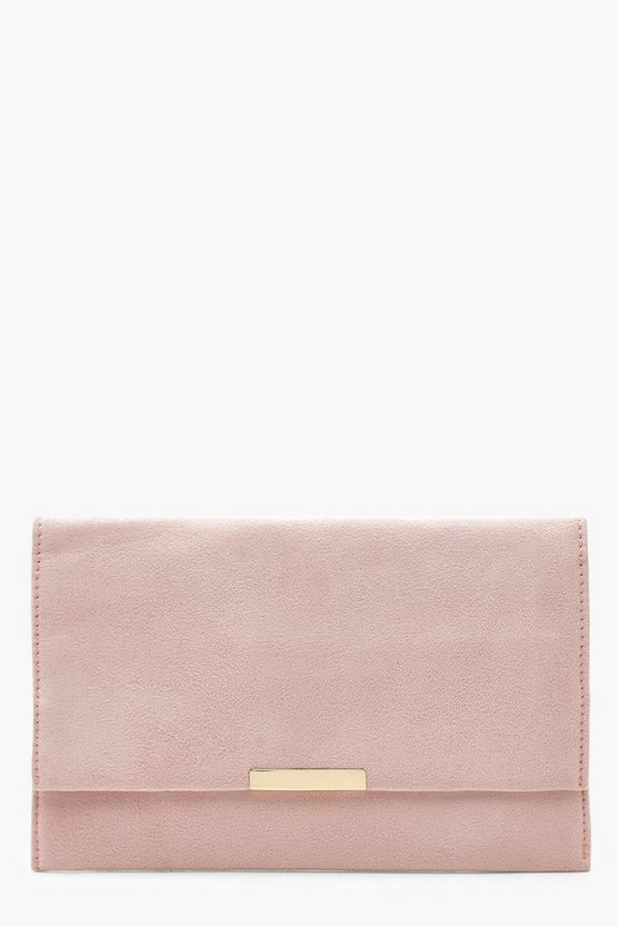 Womens Nude Suedette & Bar Clutch