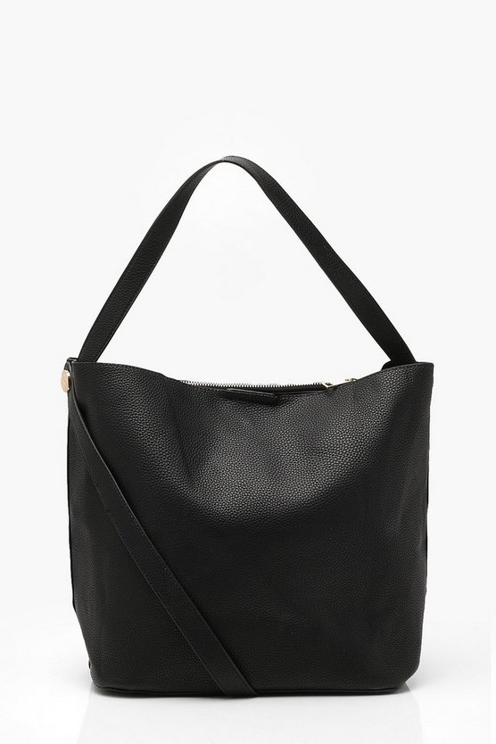 Womens Black Bucket Day Bag With Cross Body Strap
